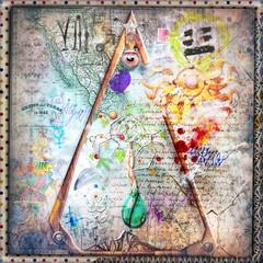 Aluminium Prints Imagination Sfondo con simboli,disegni e segni alchemici,astrologici e esoterici