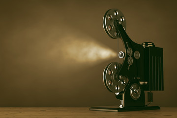Retro Movie Film Cinema Projector. 3d Rendering