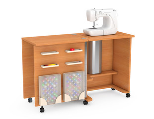 Sewing Machine on Tailor Workshop Wooden Table. 3d Rendering