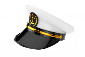 Naval Officer, Admiral, Navy Ship Captain Hat. 3d Rendering