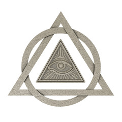 Masonic Symbol Concept. All Seeing Eye inside Pyramid Triangle as Stone. 3d Rendering