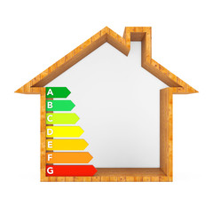 Energy Efficiency Rating Chart in Abstract Wooden Ecological House. 3d Rendering