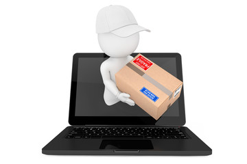 Fast Delivery Concept. 3d Character Deliver Parcel Through Laptop Screen. 3d Rendering