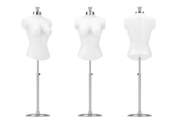 White Vintage Tailor Women Mennequin. 3d Rendering
