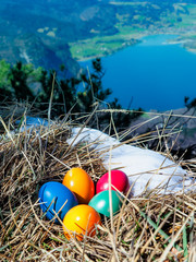 painted easter eggs laying in the grass with snow on top of a mountain with view through the alps