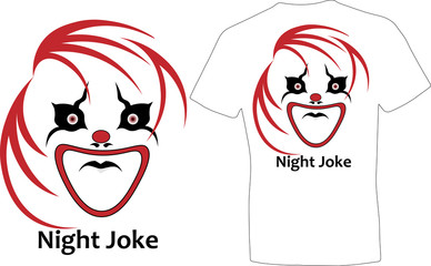 design of a T-shirt with a clown night joke minimalism with illusion