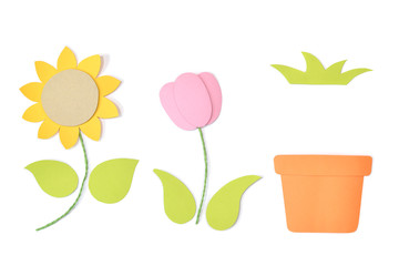 Flower set paper cut on white background - isolated