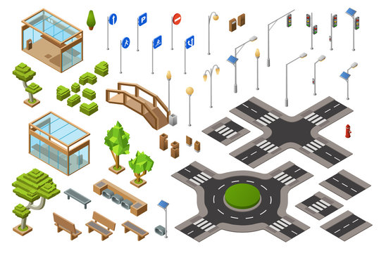 City traffic street isometric 3D vector illustration of traffic light, transport direction signs. Isolated isometric constructor icons of town bench, bus stops and bridge or crossroad lane marking