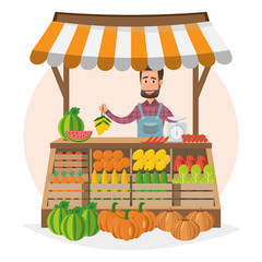 Farm shop. Local market. Selling fruit and vegetables. business owner working in his own store.