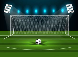Football goal on a green field with a football.
