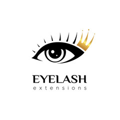Eyelash extension logo. Eye with a golden crown . Vector illustration in a modern style