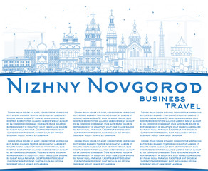 Outline Nizhny Novgorod Russia City Skyline with Blue Buildings and Copy Space.