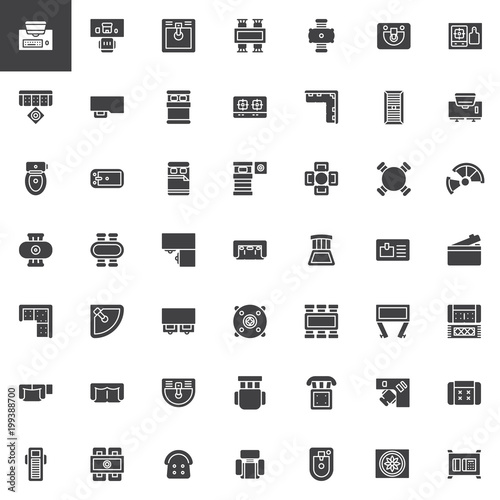 Furniture Top View Vector Icons Set Modern Solid Symbol Collection Filled Style Pictogram Pack