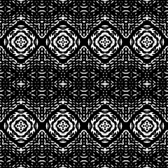 Black and White Seamless Ethnic Boho Pattern. Ikat. Background for Surface Design