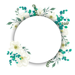 Round template with flowers and leaves