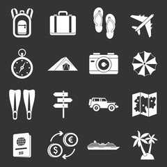 Travel icons set grey vector