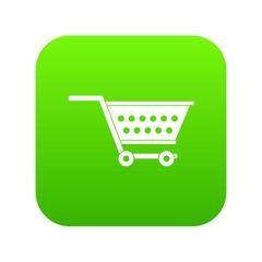 Empty supermarket cart icon digital green