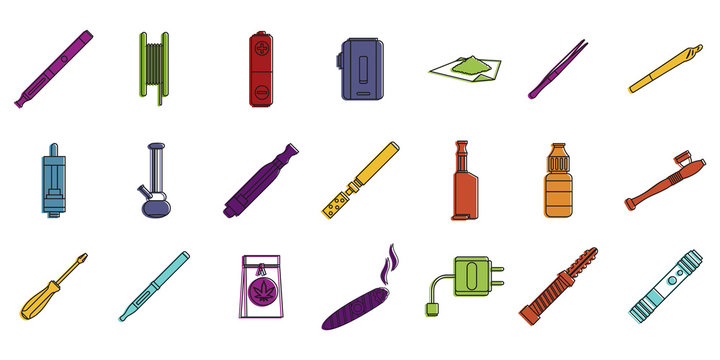 Smoking tools icon set, color outline style