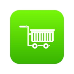 Large plastic supermarket cart icon digital green