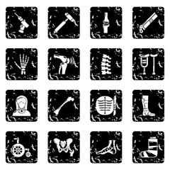Orthopedist bone tools icons set grunge vector