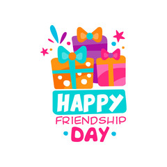 Happy friendship day logo template. Three colorful gift boxes with bows. Creative vector design for souvenir store, greeting card or print