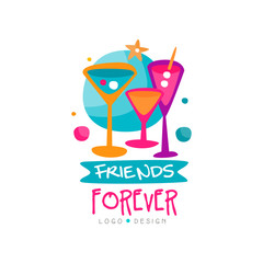 Creative friends forever logo template with three glasses of martini. Abstract vector design for event promo, party invitation or cafe-bar