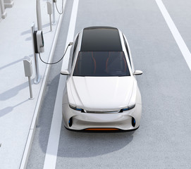 Front view of white electric SUV charging at parking lot with charging station in the street. 3D rendering image.