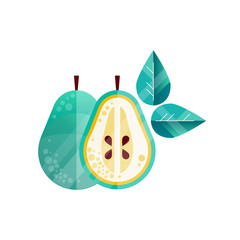 Original textured illustration of whole and half of pear, green leaves. Sweet and healthy fruit. Flat icon with gradients. Vector element