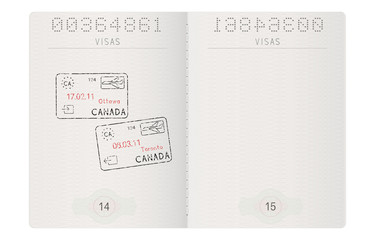 Passport pages. With stamp of Ottawa and Toronto, Canada