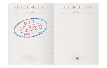 Passport pages. With stamp of Alexandria, Egypt
