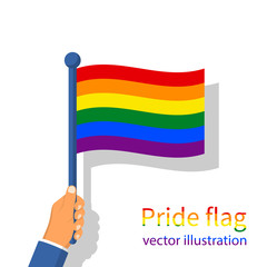 LGBT pride flag. Multicolored peace flag movement. Rainbow flag holding in hand gay blowing in the wind. Vector illustration flat design. Isolated on white background.