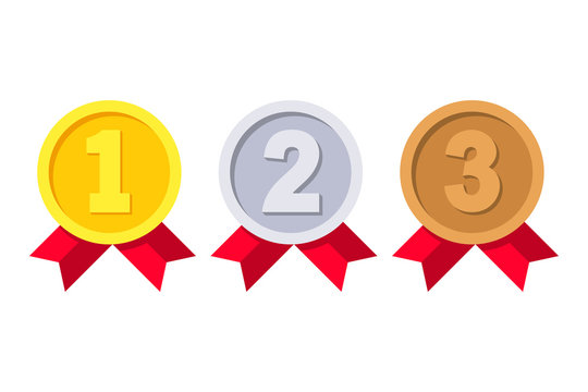 1st, 2nd and 3rd places. Gold, silver, bronze medal. First, second, third place. Award winner. Trophy with red ribbon. Golden badge for achievement. Vector flat design. Isolated on white background