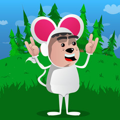 Boy dressed as mouse with hands in rocker pose. Vector cartoon character illustration.