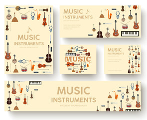 Festival music instruments circle infographics template concept. Icons design for your product or web and mobile applications. Vector flat with long shadow illustration background