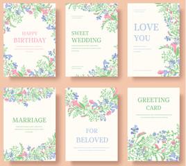 Set of flower invitation cards. Invite wedding. Wedding background. Wedding illustration. Wedding invite flyer. Wedding invite poster. Wedding invite banner. Wedding invite  layout background.