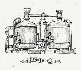 Retro brewery engraving. Copper tanks and barrels in brewery beer. Local brewery. Vintage engraving illustration for web, poster, label, invitation to oktoberfest festival, party.