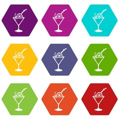 Cocktail icons set 9 vector