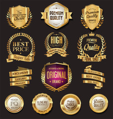 Luxury golden design badges and labels collection