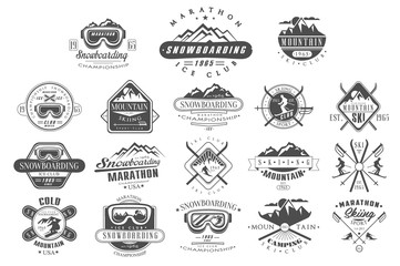 Vector set of vintage logos for ski club. Snowboarding championship. Monochrome emblems of tournament. Extreme winter sport. Mountain camping. Outdoor activity
