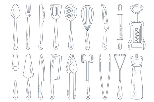 Vector set of cutlery and various kitchen utensils for cooking. Garlic press, corkscrew, meat cleaver, rolling pin, whisk. Detailed hand drawn illustrations