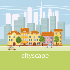 Urban landscape with large modern buildings and suburb with private houses. Street, highway with cars. Concept city and suburban life. Vector, cartoon style, isolated