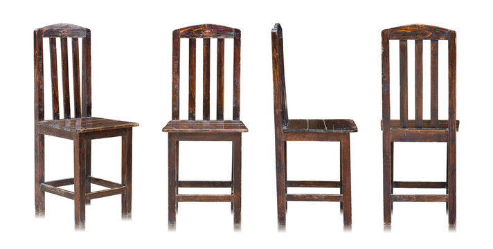 set of dark wooden chair isolated on white background