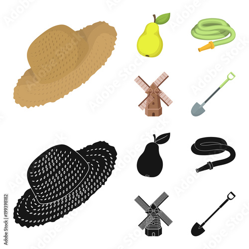 Straw Hat Pear With Leaf Watering Hose Windmill Farmer And