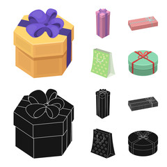 Gift box with bow, gift bag.Gifts and certificates set collection icons in cartoon,black style vector symbol stock illustration web.