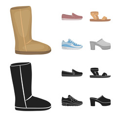 Beige ugg boots with fur, brown loafers with a white sole, sandals with a fastener, white and blue sneakers. Shoes set collection icons in cartoon,black style vector symbol stock illustration web.