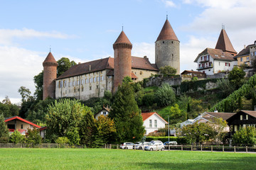 Swiss medieval castle Chenaux (built in the 15th century) at Estavayer le lac, Switzerland