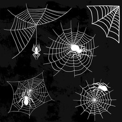 Spiders vector web silhouette spooky spider nature halloween element cobweb decoration fear spooky net.