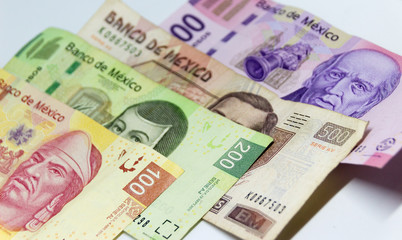 Mexican bills of different denominations