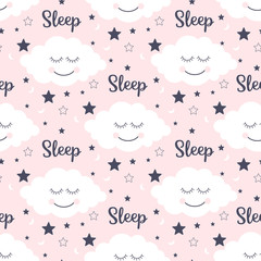 Seamless pattern with smiling sleeping clouds and stars. Vector illustration