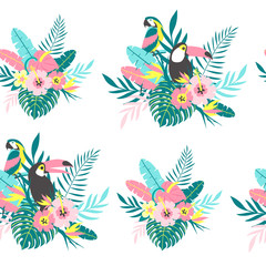 Tropical seamless pattern with toucans, parrot, exotic leaves and flowers. Vector illustration